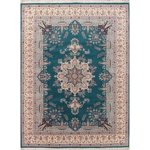 """Kashan Pakistan Transitional Floral Hand Made Wool Oriental Area Rug - 12'2"""" x 9'1"""""""