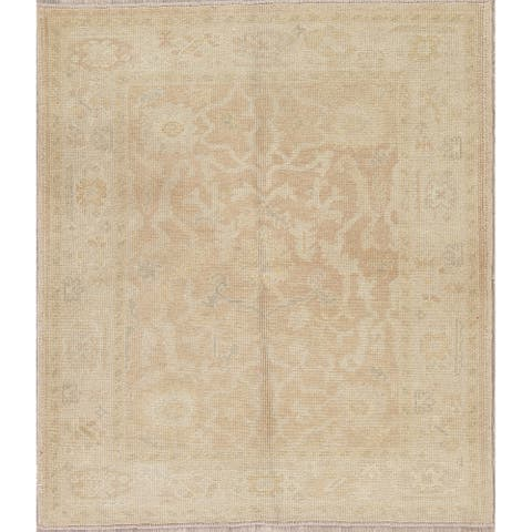 """Oushak Turkish Oriental Hand Knotted Wool Area Rug - 4'7"""" x 4'2"""""""