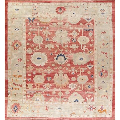 "Oushak Turkish Geometric Hand Knotted Wool Large Area Rug - 14'8"" x 12'8"""