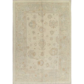 "Oushak Turkish Floral Hand Knotted Wool Oriental Area Rug - 13'4"" x 9'2"""