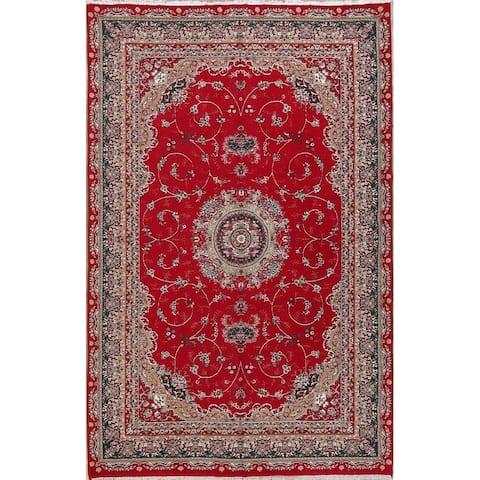 "Oushak Turkish Floral Acrylic & Pp Oriental Area Rug - 9'8"" x 6'2"""