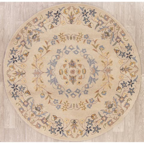 "Gracewood Hollow Muwanga Hand-tufted Floral Wool Round Rug - 5'9"" x 5'9"" Round"