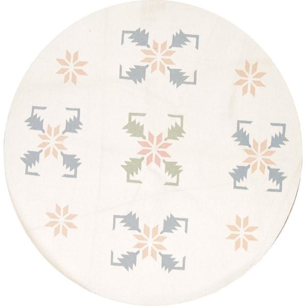 "Porch & Den Byrne Hand-woven Wool Geometric Oriental Area Rug - 7'10"" x 7'10"" Round"