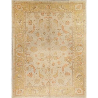 """Antique Oushak Turkish Floral Hand Knotted Wool Oriental Area Rug - 12'3"""" x 9'5"""""""
