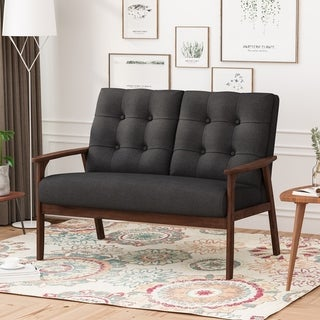 Link to Duluth Mid Century Waffle Stitch Tufted Accent Loveseat with Rubberwood Legs by Christopher Knight Home Similar Items in Living Room Furniture