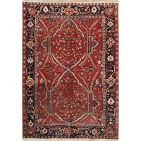 "The Curated Nomad Bradbeer Antique Heriz Geometric Hand-knotted Wool Persian Heirloom Item Area Rug - 9'10"" x 6'10"""