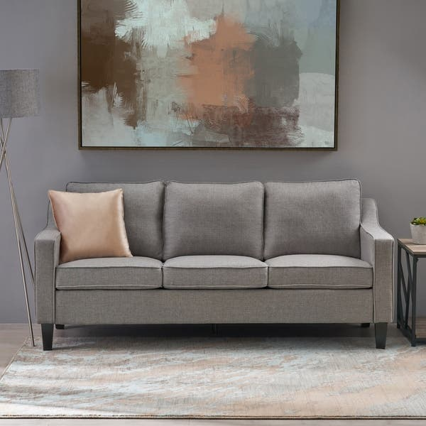 Shop Cumberland Contemporary Fabric Sofa with Plush Cushions ...