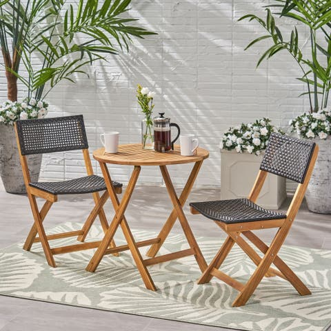 Hillside Outdoor Acacia Wood Wicker Foldable Bistro Set with Chairs and Table by Christopher Knight Home
