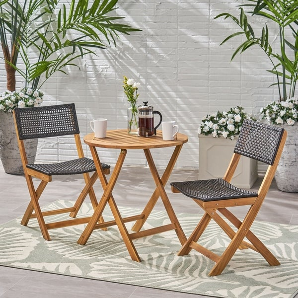 Shop Hillside Outdoor Acacia Wood Wicker Foldable Bistro Set With