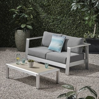 Bayport Outdoor Aluminum Loveseat and Coffee Table Set with Cushions by Christopher Knight Home
