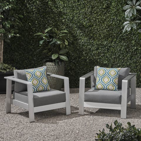 Bayport Outdoor Aluminum Club Chairs with Cushions (Set of 2) by Christopher Knight Home