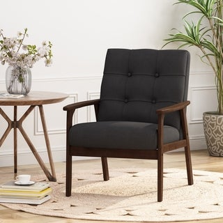 Link to Duluth Mid Century Waffle Stitch Tufted Accent Arm Chair with Rubberwood Legs by Christopher Knight Home Similar Items in Accent Chairs