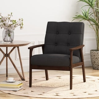 Christopher Knight Home Duluth Mid-century Waffle-stitch Tufted Accent Arm Chair with Rubberwood Legs