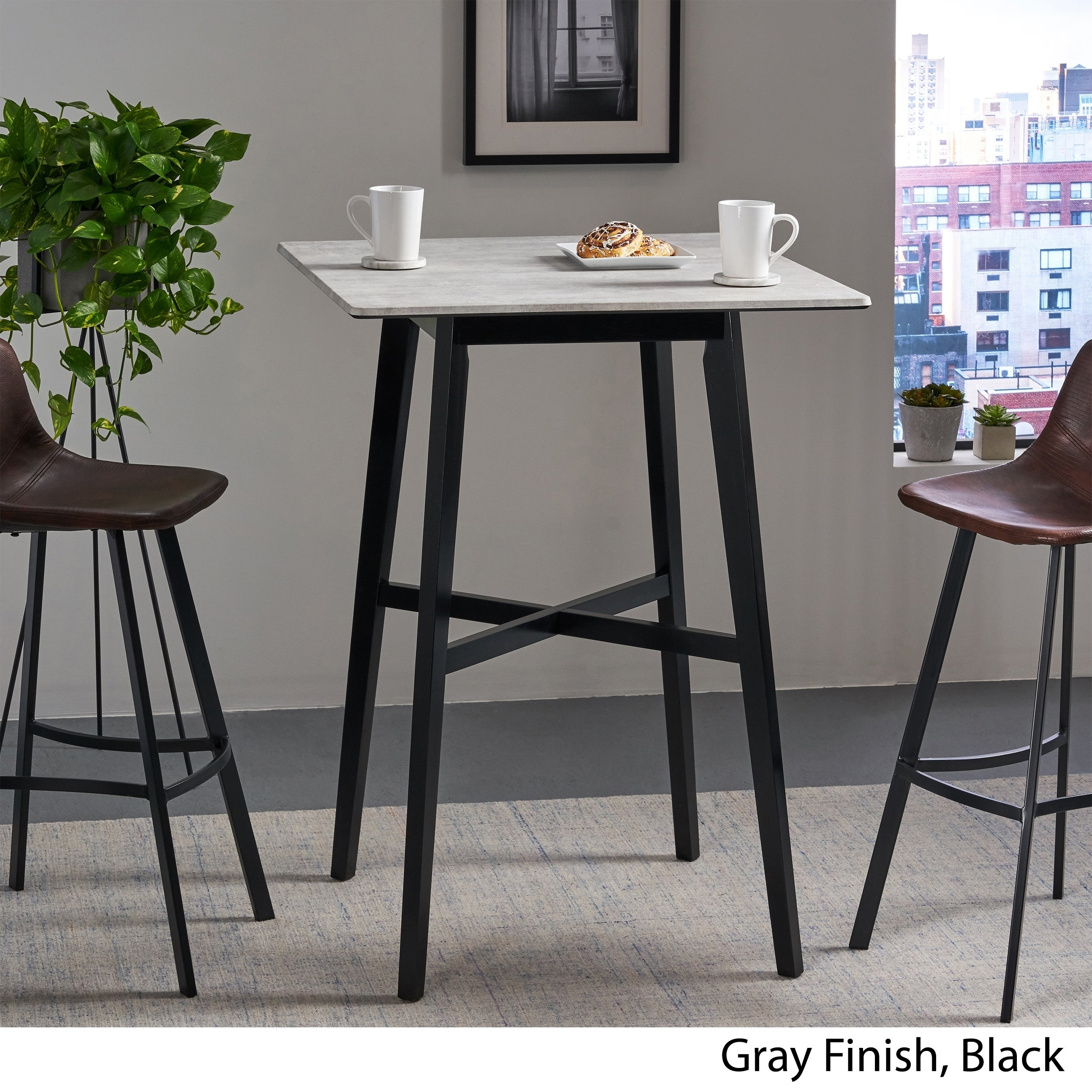 Picture of: Kenilworth Modern Resin Square Bar Table By Christopher Knight Home Overstock 27414672