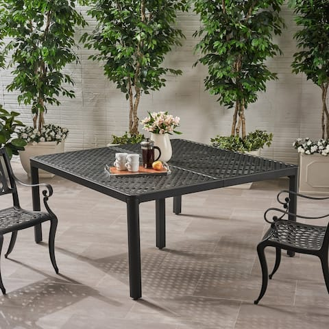 Tahoe Outdoor Modern Aluminum Dining Table with Woven Accents by Christopher Knight Home