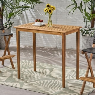 """Polaris Outdoor Minimalist Rectangle Acacia Wood Bar Table by Christopher Knight Home - 26.00""""D x 45.00""""W x 41.00""""H"""
