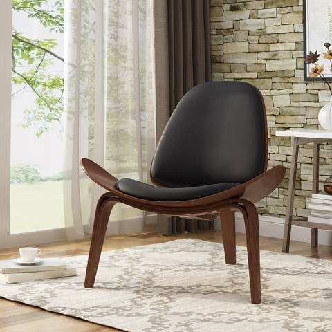 Christopher Knight Home Grammont 17-inch Mid-century Modern Shell Accent Chair with Bentwood Design and Leather Seating