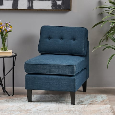 Christopher Knight Home Crowningshield Navy Blue/Charcoal Fabric Slipper Chair with Button Accents