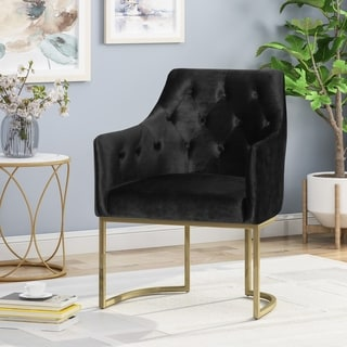 McDonough Modern Tufted Glam Accent Chair with Velvet Cushions and U-Shaped Base by Christopher Knight Home