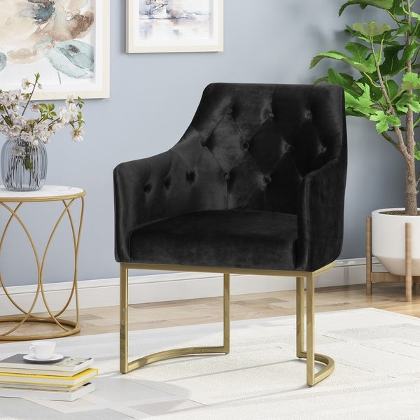 McDonough Modern Tufted Glam Accent Chair with Velvet Cushions and U-Shaped Base by Christopher Knight Home. Opens flyout.