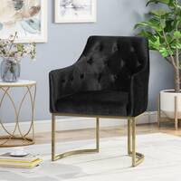 Christopher Knight Home McDonough Modern Tufted Glam Accent Chair with Velvet Cushions and U-shaped Base