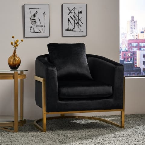 Briarcliff Modern Velvet Glam Armchair with Stainless Steel Frame by Christopher Knight Home