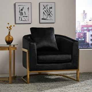 Link to Briarcliff Modern Velvet Glam Armchair with Stainless Steel Frame by Christopher Knight Home Similar Items in Living Room Chairs