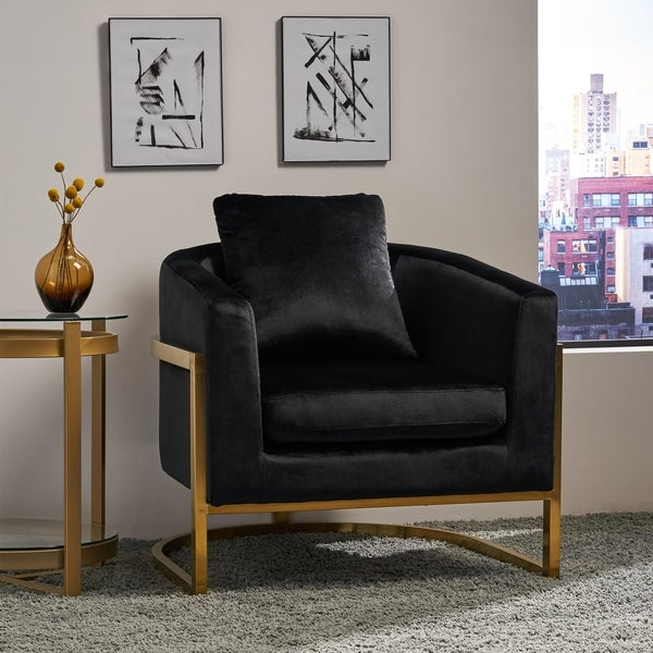 Briarcliff Modern Velvet Glam Armchair with Stainless Steel Frame by Christopher Knight Home. Opens flyout.