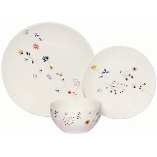 Melange 18-PC Coupe Porcelain Dinner Set, Spring Flowers (Pack of 18)
