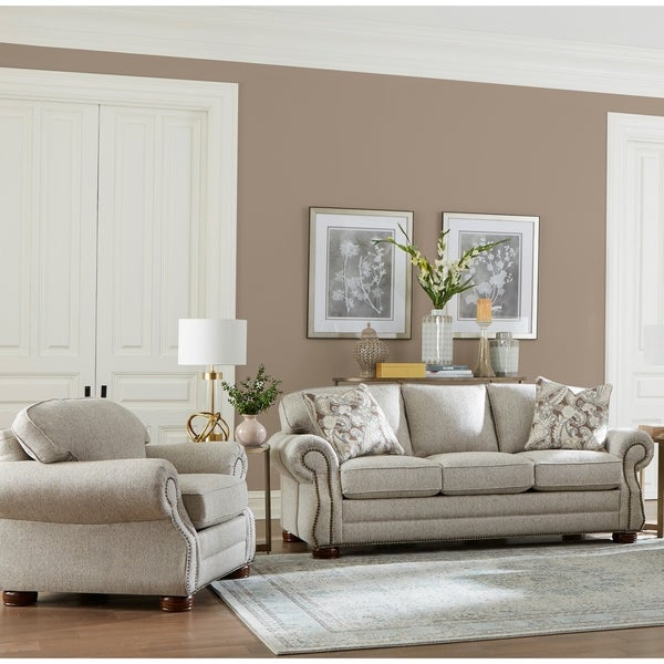 Made in USA Austin Taupe Fabric Sofa and Chair with Nailhead Trim