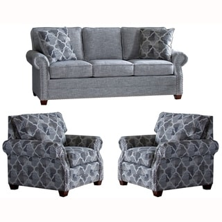 Made in USA Marner Grey Fabric Sofa and Two Chairs with Nailhead Trim