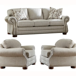 Made in USA Austin Taupe Fabric Sofa and Two Chairs with Nailhead Trim