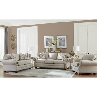 Made in USA Austin Taupe Fabric Sofa, Loveseat and Chair with Studs