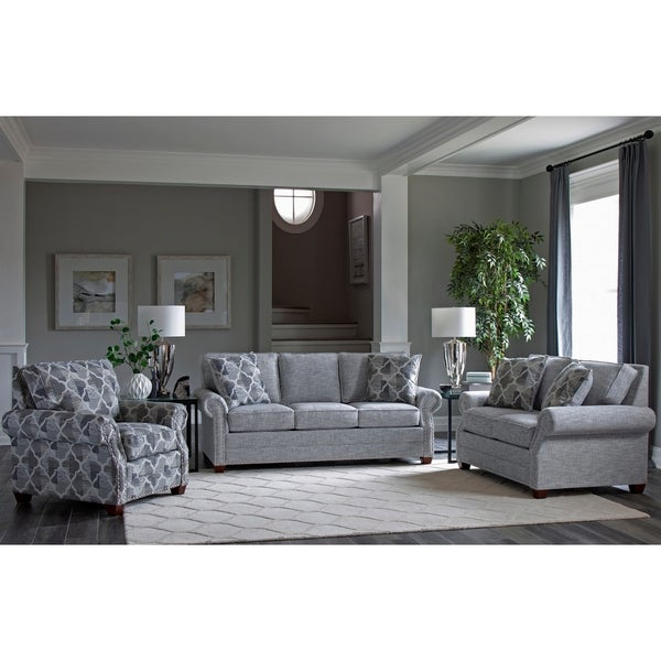Made in USA Marner Grey Fabric Sofa, Loveseat and Chair with Nailheads