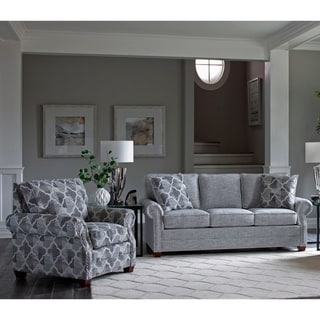 Link to Made in USA Marner Grey Fabric Sofa and Chair with Nailhead Trim Similar Items in Arm Chair Sets