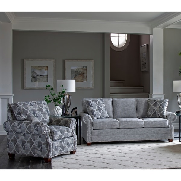 Made in USA Marner Grey Fabric Sofa and Chair with Nailhead Trim