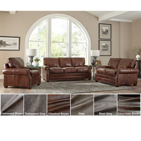 Made in USA Revo Top Grain Leather Sofa Bed, Loveseat and Chair