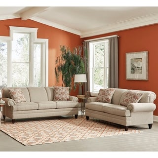 Made in USA Tilson Beige Fabric Sofa Bed and Loveseat