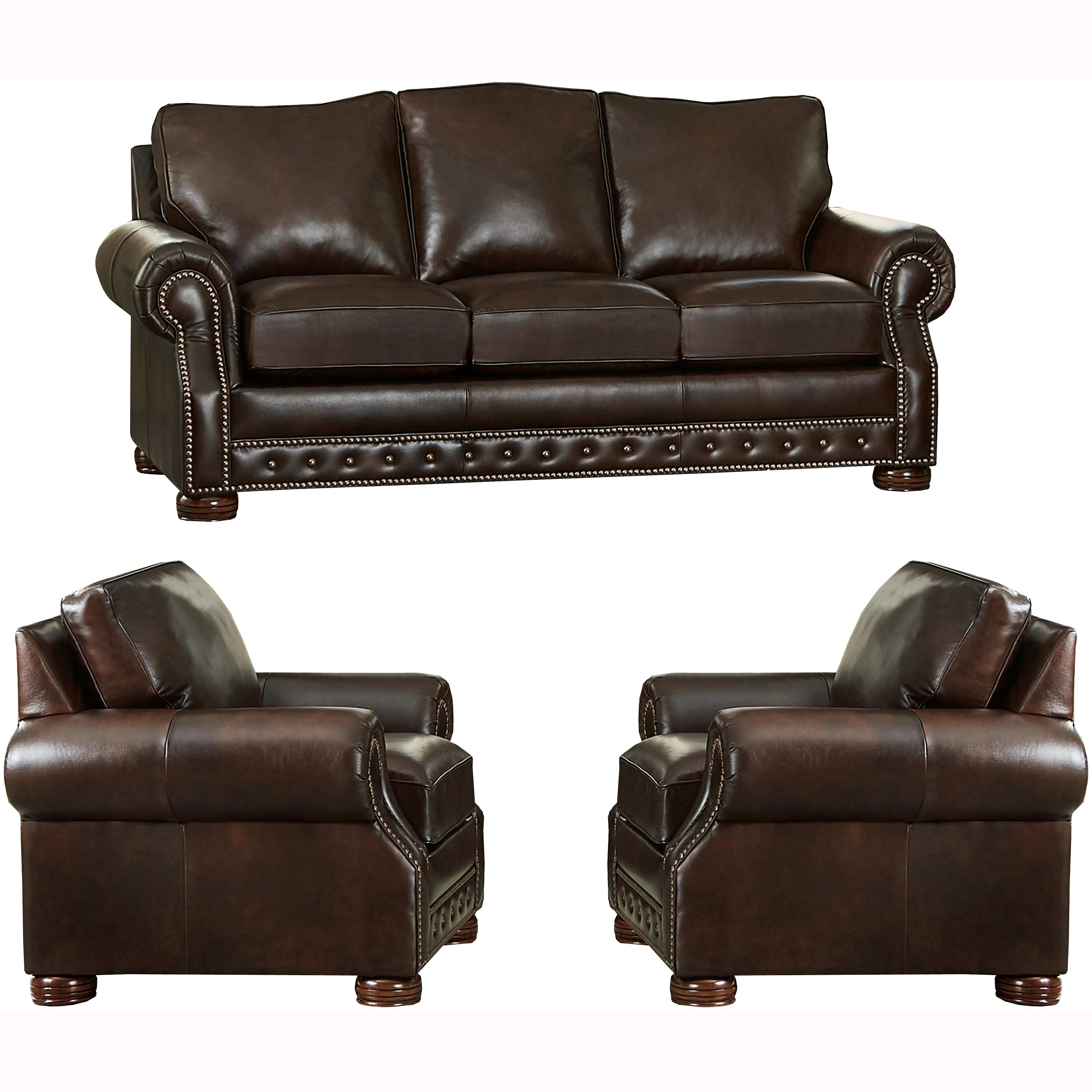 Shop Made in USA Porto Top Grain Leather Sofa and Two Chairs - On ...