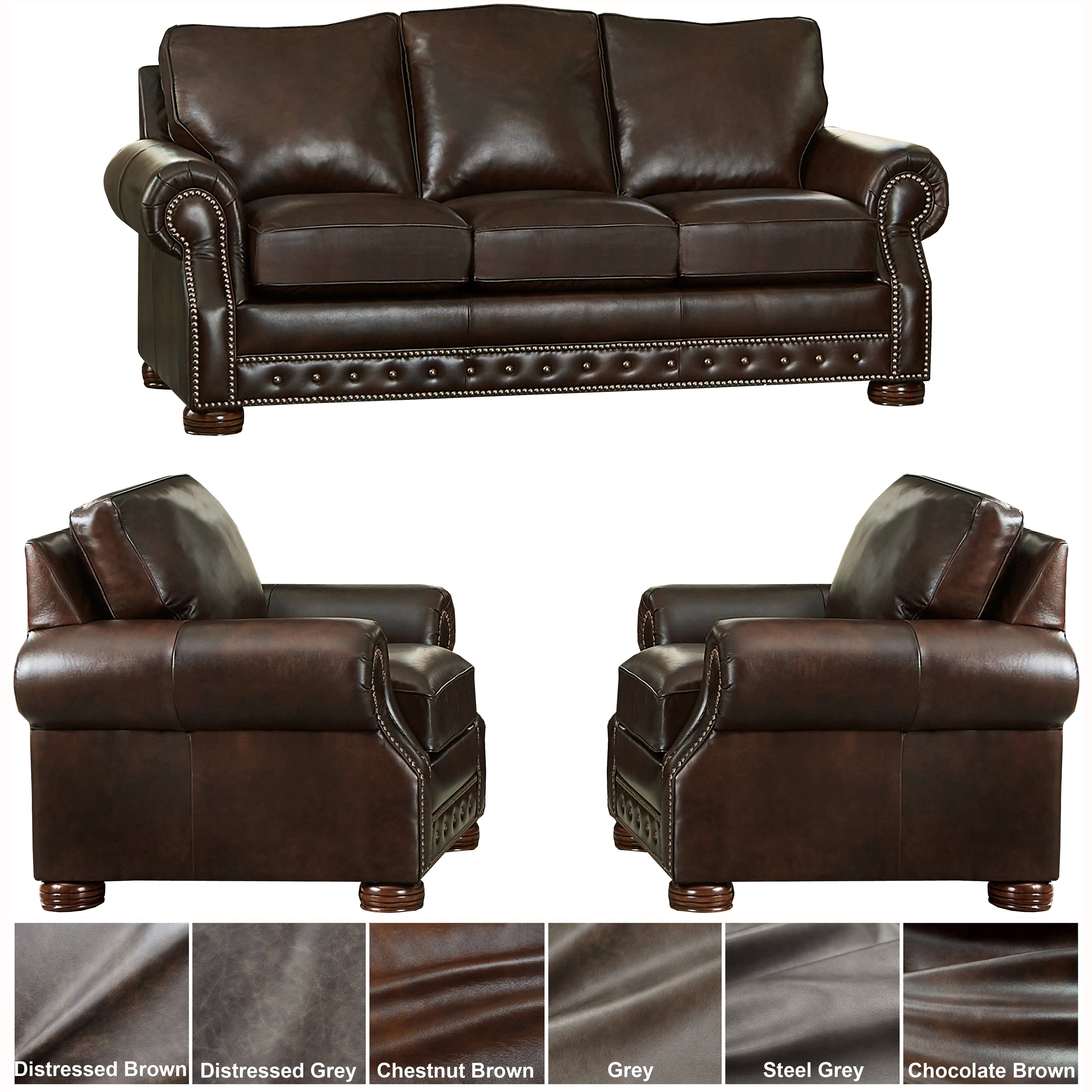 Made in USA Porto Top Grain Leather Sofa and Two Chairs