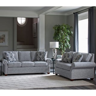 Link to Made in USA Marner Grey Fabric Sofa and Loveseat with Nailhead Trim Similar Items in Arm Chair Sets