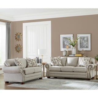 Made in USA Austin Taupe Fabric Sofa and Loveseat with Nailhead Trim