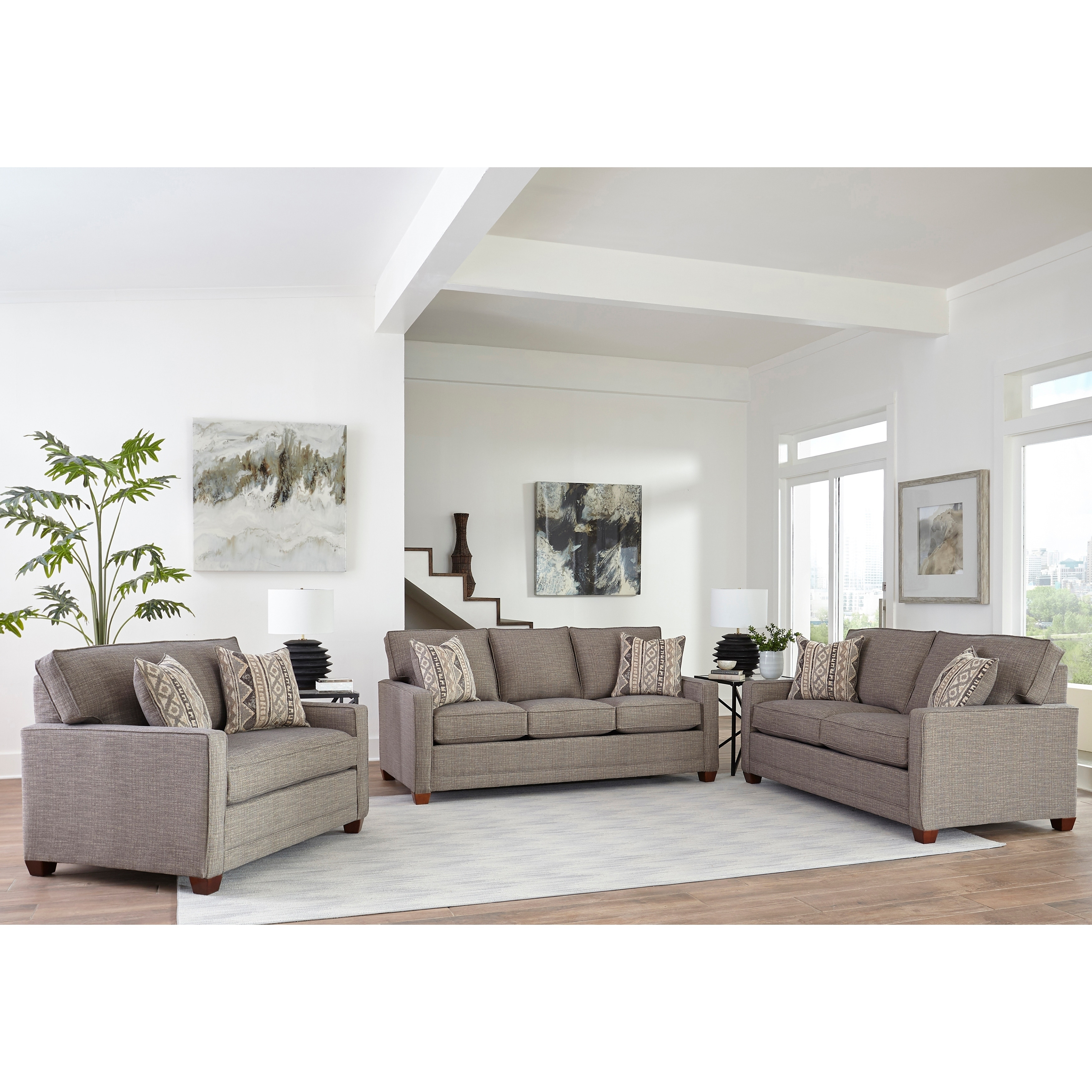Picture of: Made In Usa Sumner Grey Fabric Sofa Loveseat And Chair And A Half On Sale Overstock 27415167