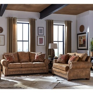 Link to Made in USA Rancho Rustic Brown Buckskin Fabric Sofa and Loveseat Similar Items in Living Room Furniture Sets