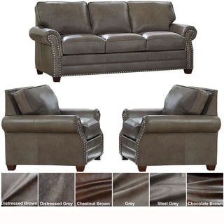 Made in USA Vernon Top Grain Leather Sofa Bed and Two Chairs