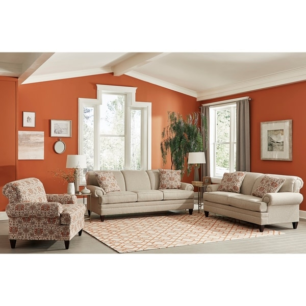 Made in USA Tilson Beige Fabric Sofa, Loveseat and Chair