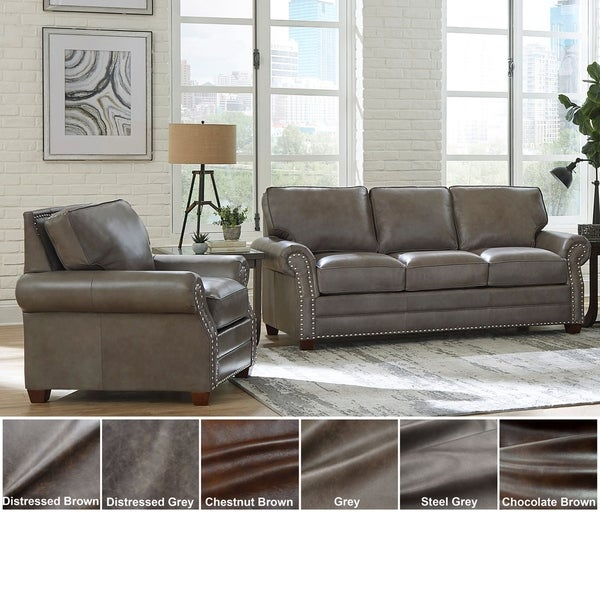 Made in USA Vernon Top Grain Leather Sofa and Chair
