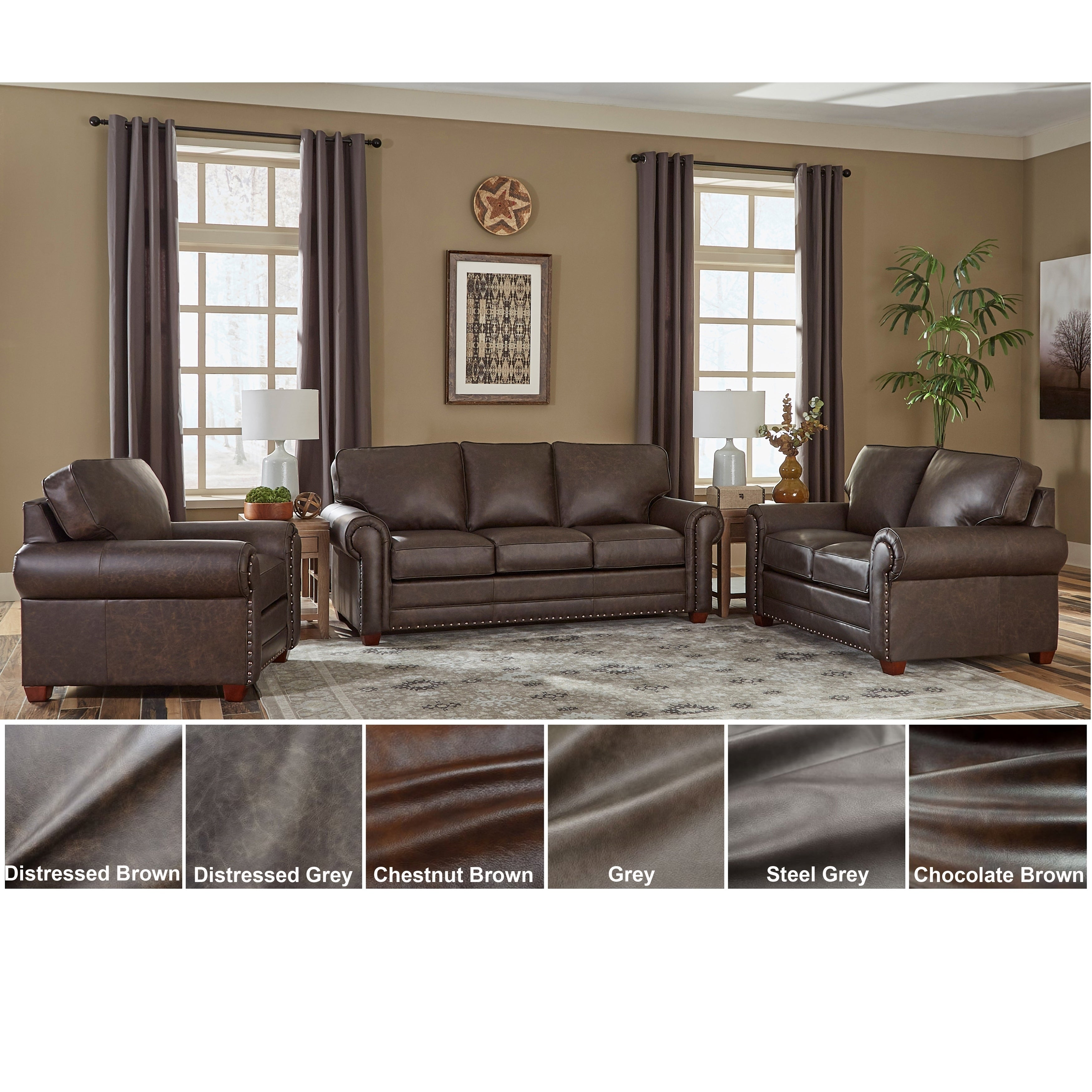 Made in USA Raval Top Grain Leather Sofa Bed, Loveseat and Chair
