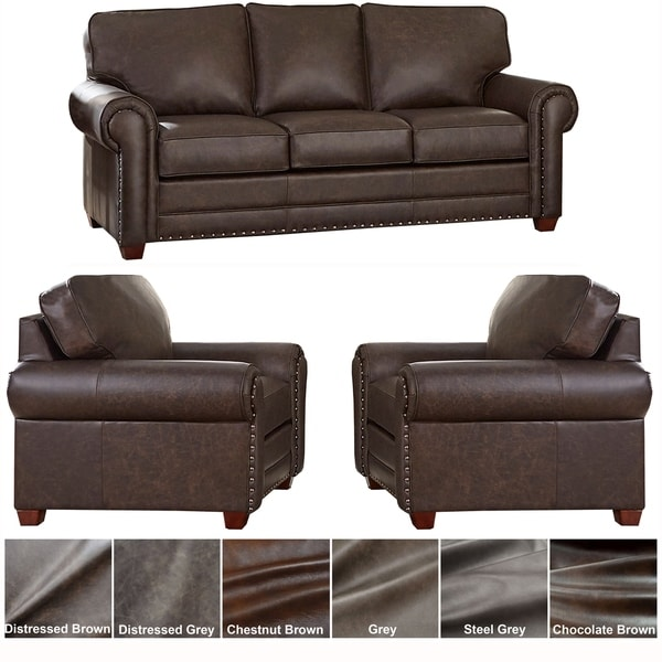 Shop Made In USA Raval Top Grain Leather Sofa Bed And Two