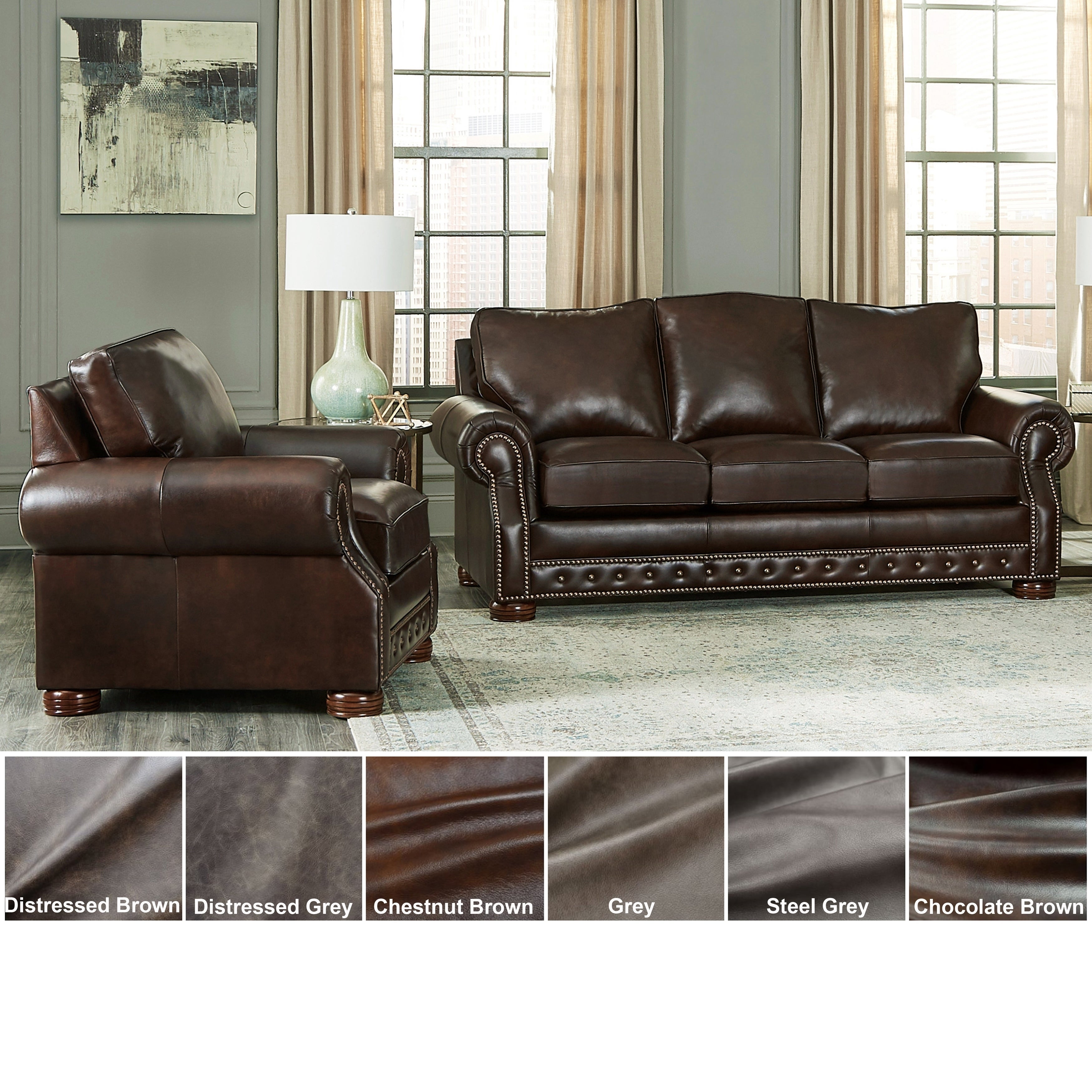 Made in USA Porto Top Grain Leather Sofa and Chair